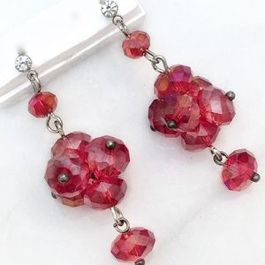Red Rhinestone Beaded Drop Earrings